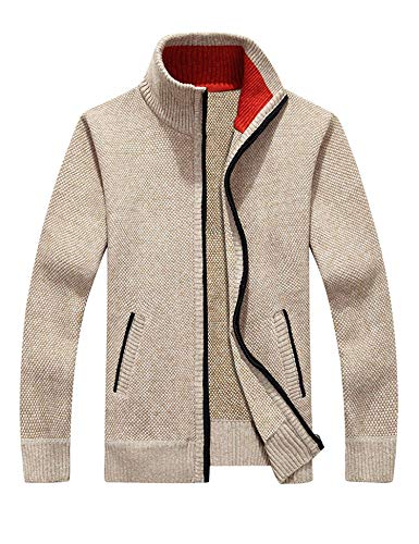 COOFANDY Mens Full Zip Up Sweaters Jacket Lightweight Casual Slim Fit Cardigan with Pockets, Casual Khaki, Small