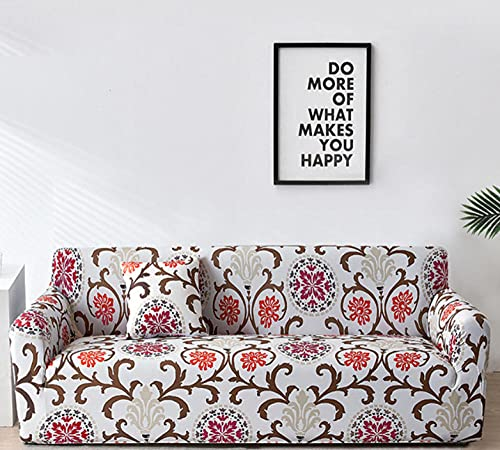 Funda para Sofá Sofas de Salon Jacquard Bohemio Elasticas de 1 2 3 4 Plazas Impresión Floral Universal Funda Cubre Sofas Ajustables,Antideslizante Protector Cubierta de Muebles