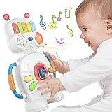 Robot de jouet de piano électronique musical pour bébé pendant 1 an, cadeaux de Noël Halloween Nouvel An Jouet sensoriel pour bébés, tout-petits, garçons, filles et jeux d'anniversaire 6-12 mois