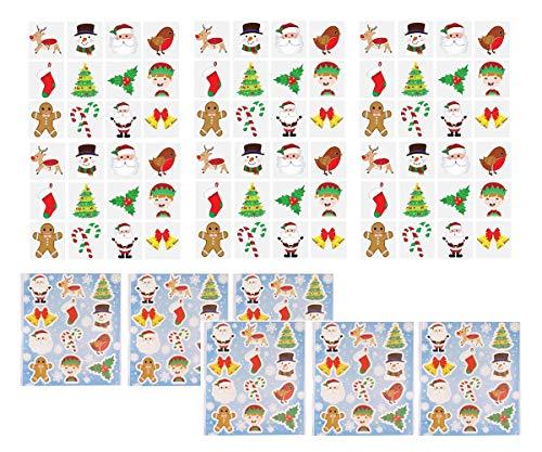 KP KINPARTY ® - Pegatinas y Tatuajes de Navidad - Papa Noel, Muñeco de Nieve, Elfos - Decoración, Fiestas, Regalos, Calendario de Adviento