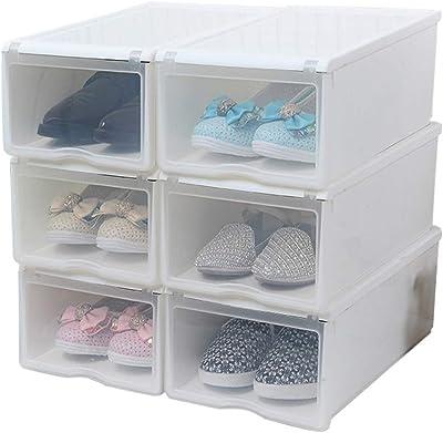 Caja para Zapatos Caja de Almacenamiento Transparente Juego de 6 Cajas para Zapatos de /águila con Puerta Transparente Plegables y apilables