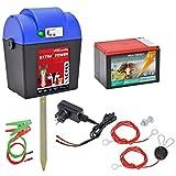 VOSS.farming elettrificatore Extra Power 230 V 9 V 12 V con Batteria e Set di Accessori