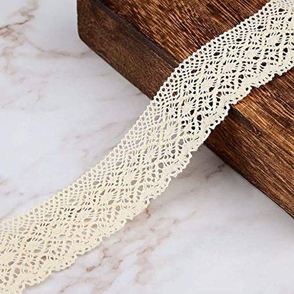 VU100 Cotton Lace Edge Trim Ribbon 1-1/4 Inch for Sewing, Crochet Vintage Lace Ribbon Beige, for DIY Crafts Gift Wrapping Card Making(3 Yards)