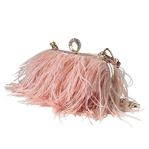 keland Echte natürliche Straußen feder Clutch Shoulder Bag (Pink)