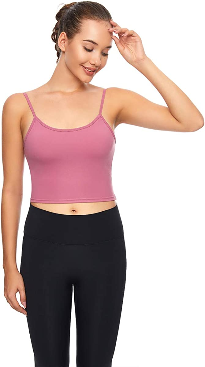 HK-JINBA Longline Sports Bra for Women Gym Cropped Yoga Tank Top Workout Running Camisole Bra with Removable Cups Plus Size