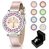 Mother's Day Gifts, Essential Oil Bracelets Women Watch, Golden Leather Band Aromathery Diffuser Bracelet Women Wrist Watch with 8pcs Washable Pads for Girl Teens