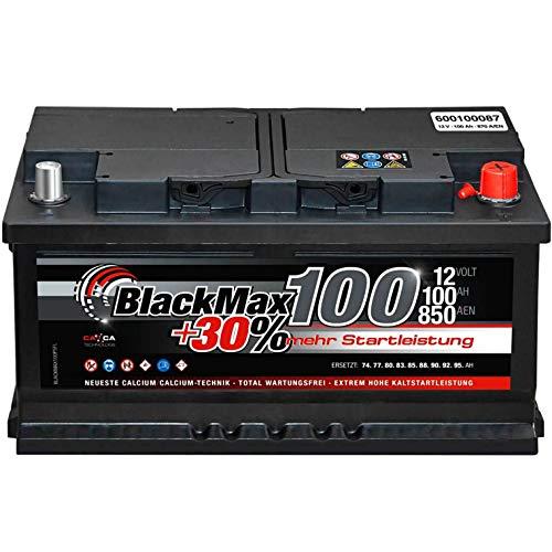 BlackMax Autobatterie 12V 100Ah 850A Starterbatterie MAX100 +30 Edition ersetzt 85Ah 88Ah 92Ah 95Ah