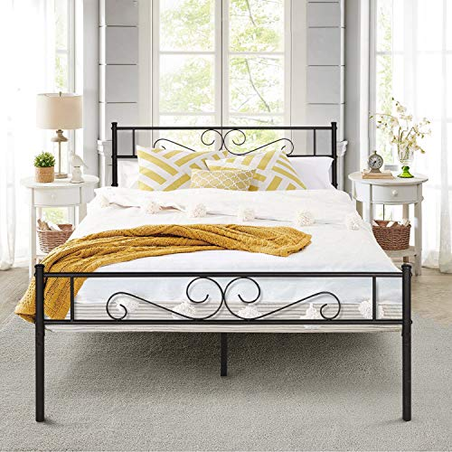 VECELO Double Bed Frame Metal Platform/Mattress Foundation with Vintage HeadBoard & Footboard, Easy Assembly (190X135 cm, Black)