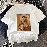 HUITAILANG Camisetas para Mujer,Camiseta Casual De Los Años 90 con Estampado De Pintura Al Óleo De Vogue, Camiseta Gráfica Lady Harajuku, Camiseta para Mujer, Color 2, Grande