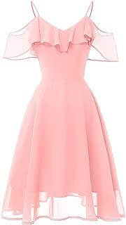 Women Round Neck Flower Print Dress NDGDA Sleeveless Evening Party Prom Swing Short Dress