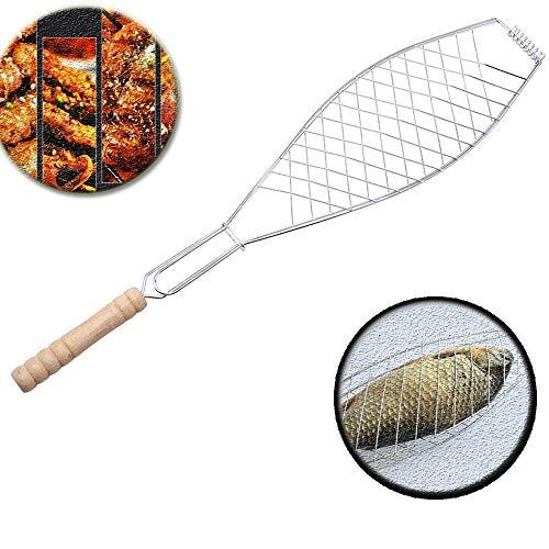 YChoice365 Grillkorb, Edelstahl-Grillrost für Fleisch, Fisch und Gemüse, großer Grillfisch-Grillkorb Spatelhalter Grillzubehör - Silber