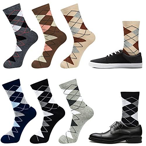 Chalier 6 Paar Business Socken Herren Karierte Karo Baumwolle Strumpf Socken 39-42 43-46 Schwarz Blau Grau