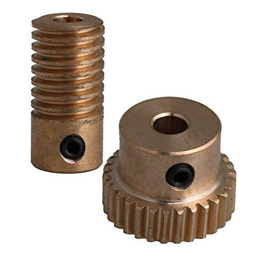 Mxfans 30 Teeth Brass Worm Gear Wheel & 4MM Hole Dia Shaft Set 0.5 Mold 1:30