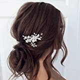 Mayelia Horquillas para el pelo de novia de boda con perlas plateadas, accesorios para el pelo para mujeres y niñas
