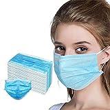 Langten 50 dispositivos universales de protección bucal y nariz para hombres y mujeres (3 capas, correas elásticas desechables con puente nasal suave).