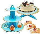3 Unidades Soporte para Cupcakes Azul de 3 Niveles y 1 Pisos Soporte Tarta, Postre Soporte de Magdalenas de Redondo para Cumpleaños, Fiesta, bodas, Baby Showers,