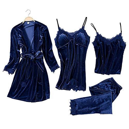Mujer Camisones Conjunto de Pijama de Encaje Sexy Elegante Ropa de Interior Dormir Pijamas para Mujer Familias para Todas Las Estaciones Camisones (Azul Oscuro, XL)