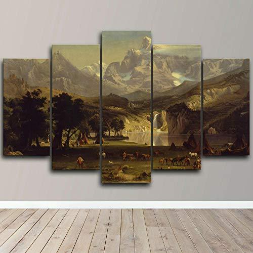 Cuadro sobre Impresión Lienzo 5 Piezas -Mural Moderno 5 Piezas,Agujero de Agua del Paisaje Americano Dormitorios Decoración para El Hogar -No Tejido Lienzo Impresión- Modular Poster Mural