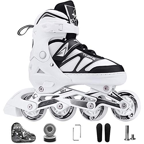 XIUWOUG Kids Men Women Inline Skates 30 41 8 Unique White LED Wheels ABEC 7 Chrome Ball Bearings Adjustable Unisex Fitness Skates for Adults Beginners Girls BoysWhiteS 3033