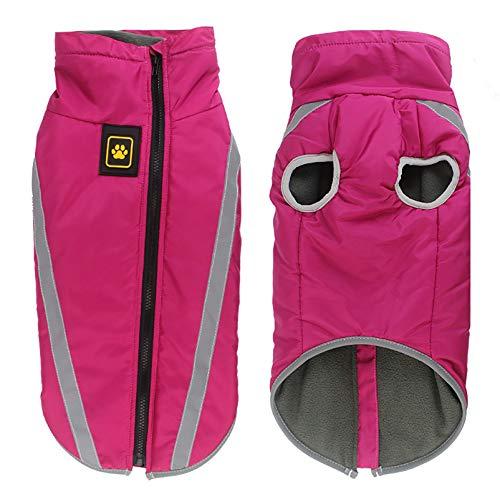 Abrigo para perro, chaleco para clima frío, con cierre de cremallera, acolchado de algodón, con orificio para arnés para perros medianos y grandes, color rosa, talla 6XL