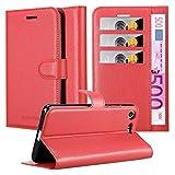 Cadorabo Hülle für Sony Xperia XZ Premium in Karmin ROT - Handyhülle mit Magnetverschluss, Standfunktion & Kartenfach - Hülle Cover Schutzhülle Etui Tasche Book Klapp Style
