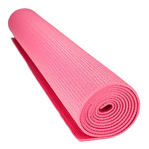 Crown Sporting Goods 3mm Compact Cushion Yoga Mat, Pink, 1/8