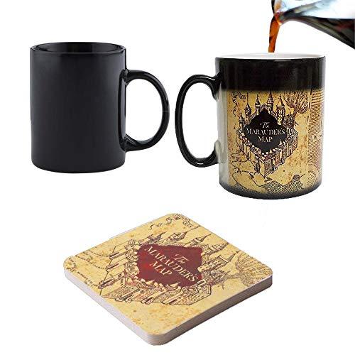 Tazza termosensibile con sottobicchiere, motivo: Harry Potter e la mappa del Malandrino - Perfetto come regalo di S. Valentino, Pasqua, Natale, Compleanno, Anniversario