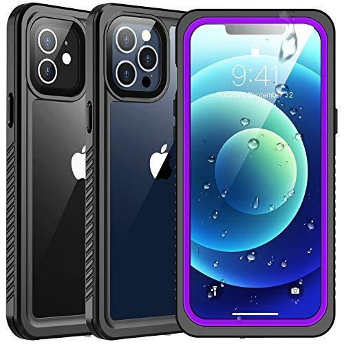 SPIDERCASE Wasserdichte Schutzhülle kompatibel mit iPhone 12 / kompatibel mit iPhone 12 Pro, lila/transparent