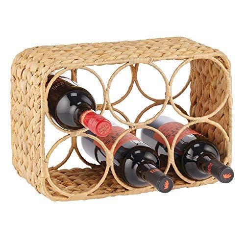 mDesign Estante para Vino y Otras Botellas – Elegante Soporte para Botellas en 2 Niveles para 6 Botellas – Organizador de Vino de Jacinto de Agua – Ideal para la encimera o la Mesa – Color Natural