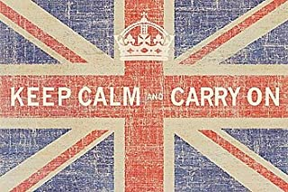 Keep Calm and Carry On British Flag Ben James Vintage Art Poster Print 16 by 24
