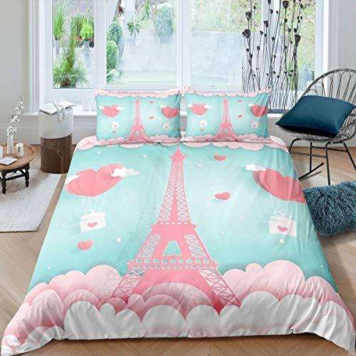Loussiesd Juego de ropa de cama para niñas con diseño de torre Eiffel rosa para niños y niñas, funda de edredón de París y decoración de paisaje urbano con purpurina en forma de corazón