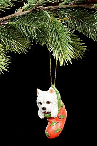 Christbaum-Schmuck Hunde Welpe | Westhighland Terrier Figur im Strumpf | Westie Anhänger Weihnachten Baum Deko
