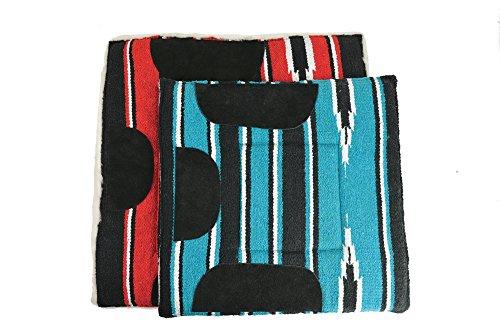 Gepolsterte Navajo Satteldecke, rot/schwarz/weiß, Pony, ca. 60 x 60 cm