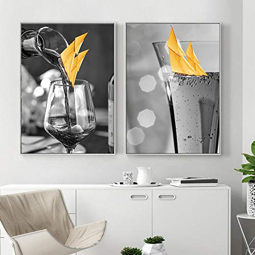 Póster de vela de copa de vino de arte gris, cuadros abstractos, pintura en lienzo, imágenes artísticas de pared para sala de estar, decoración del hogar, 40x60cmx2 sin marco