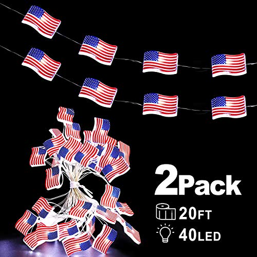 2 Pack July 4th Patriotic Decoration, 20 Ft 40 Waterproofs LED American Flag String Lights Battery Operated Lights for Home Indoor Outdoor Independence Day Red White and Blue Decoration
