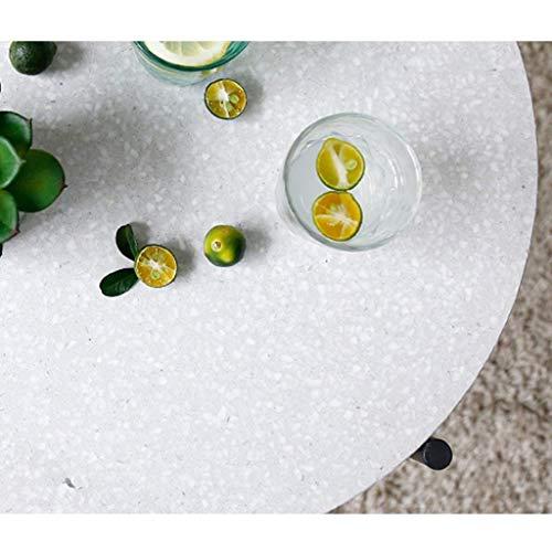 BDD Couchtisch Nordic Minimalist Creative Round, Terrazzo Schmiedeeisen Kombination Wohnzimmer Kleine Wohnung Runder Beistelltisch,Zahn Weiß