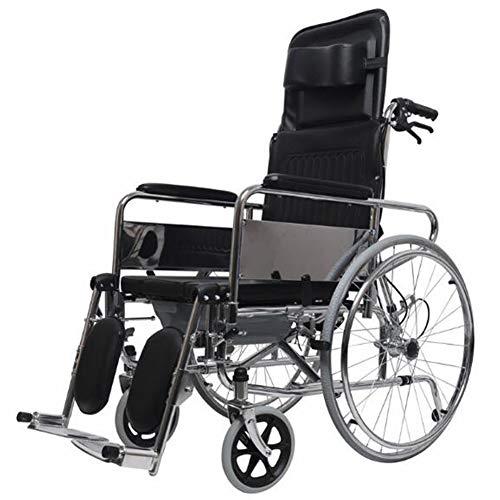 HFJKD Überzug Faltbar Rollstuhl,Rollstuhl Mit Hoher Rückenlehne Und Vollständiger Neigung,Mit Handbremse Komfortable Armlehne Sitz Leicht Zu Tragen
