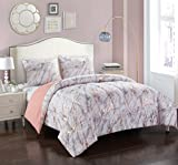 pop shop Marble Comforter Set, Twin, Rose Gold