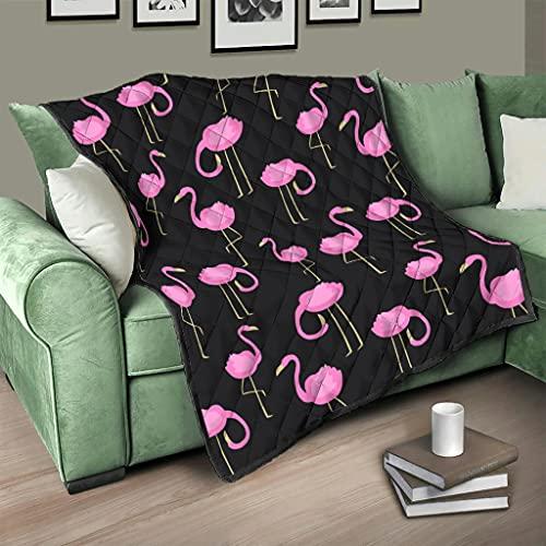 AXGM Colcha de cama, color rosa, flamenco, animal, pájaros, manta suave y cálida, para dormitorio, color blanco, 180 x 200 cm