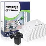 BRIAN & DANY Bolsas de Vacío con Bomba de Aire Eléctrica, 12 Bolsas de Compresión (Tallas: 4 x XL, 4 x L, 4 x M) para Uso en Casa y Viaje