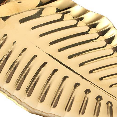 CUTULAMO Bandeja de almacenamiento, organizador de joyas de aspecto de hoja hecho de acero inoxidable para regalo de selección de adornar la vida dorada para salón de baile familiar para llave