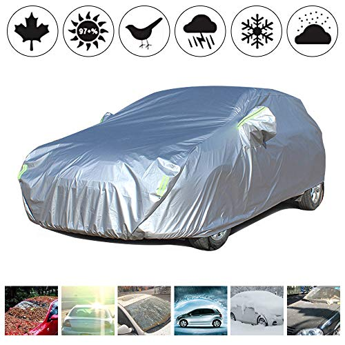 Polyester Car Cover Custom Made For Volvo XC60 SUV Sun Protection with Night Reflective Waterproof Windproof Dustproof Snow Leaves Scratch Resistant Size:YL(485x190x185mm) Silver