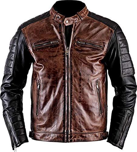 PriceRight Cafe Racer - Chaqueta de piel auténtica para hombre | Chaqueta de motocicleta vintage de piel marrón para hombre | Chaqueta de motocicleta retro para hombre | Chaqueta motorista par