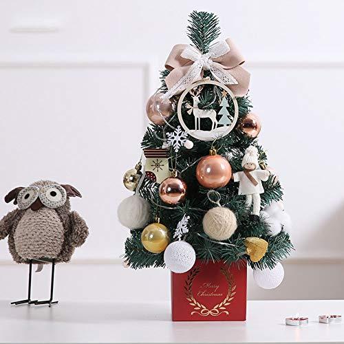 HTHJA 45cm Pequeño Árbol De Navidad De Mesa con Luces, Mini Árbol...