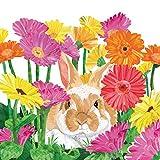 Home Collection Casa Cucina Decorazione Accessori Set 40 Tovaglioli Monouso Carta 3 veli 33 x 33 cm Motivo Pasqua Coniglio Fiori
