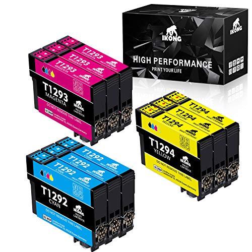 Cartuccia d'inchiostro IKONG T129XL compatibile in sostituzione di Epson T1292 T1293 T1294 per Epson SX235W SX440W SX425W SX420W SX535WD BX305F BX305FW, WF-7515 WF-3520 (3 Ciano,3 Magenta,3 Giallo)