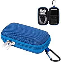 AGPTEK MP3 Player Case, Portable Clamshell Headphones Cover, Holder with Metal Carabiner Clip for 1.8 inch MP3 Players, iPod Nano, iPod Shuffle, Apple Airport,Blue