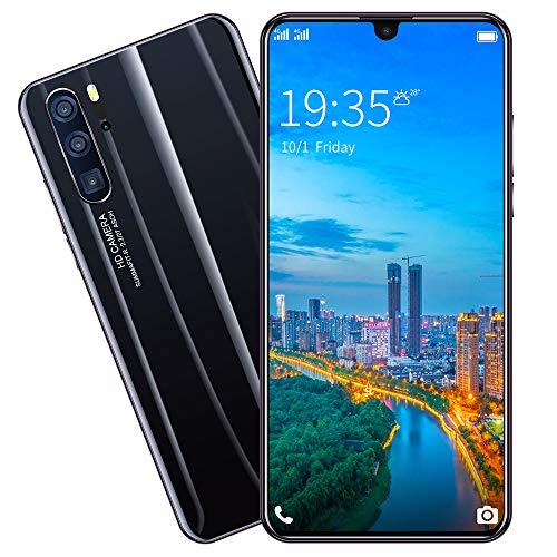 GJRPhone Teléfono Inteligente Android de 6,3 Pulgadas Reconocimiento de Huella Dactilar Facial con SIM Dual Teléfono móvil 6G + 128G (P36 Pro),Negro,AUPlug