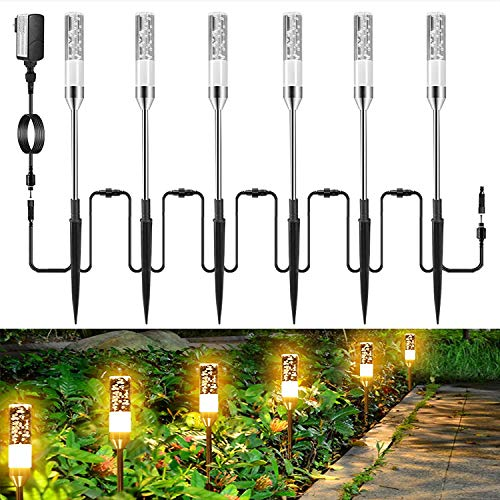 GreenClick LED Path Lights, 6 Pack 4.8W Extendable Pathway Lights 12V Low Voltage Landscape Lighting Plug in IP65 Waterproof Acrylic Bubble Outdoor Garden Lights for Lawn Patio Yard, 2700K
