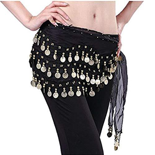 NiceButy falda de la danza del vientre de la cadera de la gasa de oro colgando toalla de la moneda del vientre danza hip cinturón negro envuelto Accesorios Ropa